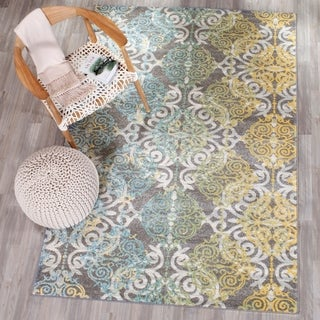 Safavieh Evoke Vintage Watercolor Damask Grey / Ivory Distressed Rug (9' x 12')