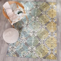 Safavieh Evoke Vintage Watercolor Damask Grey / Ivory Distressed Rug (10' x 14') - 10' x 14'