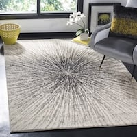 Carson Carrington Hamar Vintage Abstract Burst Black/ Ivory Distressed Rug - 8' x 10'
