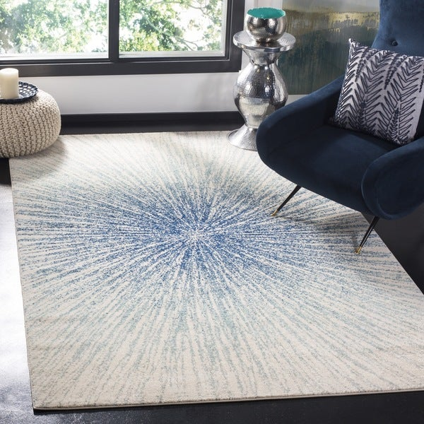 Safavieh Evoke Vintage Abstract Burst Royal Blue/ Ivory Distressed Rug (9' x 12')