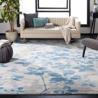 """Safavieh Evoke Vintage Floral Grey / Light Blue Distressed Rug - 6'7"""" x 9'"""