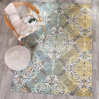 Safavieh Evoke Vintage Watercolor Damask Grey / Ivory Distressed Rug - 6'7 x 9'