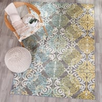 Safavieh Evoke Vintage Watercolor Damask Grey / Ivory Distressed Rug (5'1 x 7'6) - 5'1 x 7'6