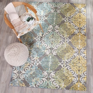 Safavieh Evoke Vintage Watercolor Damask Grey / Ivory Distressed Rug - 5'1 x 7'6