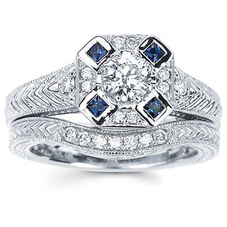 Boston Bay Diamonds 14k White Gold 2/5ct TDW Diamond and Blue Sapphire Engagement Ring (H-I, SI2-I1)