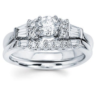 Boston Bay Diamonds 14K White Gold 3/4ct TDW Round and Baguette Diamond Engagement Ring