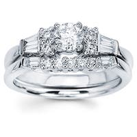 Boston Bay Diamonds 14K White Gold 3/4ct TDW Baguette Diamond Engagement Ring