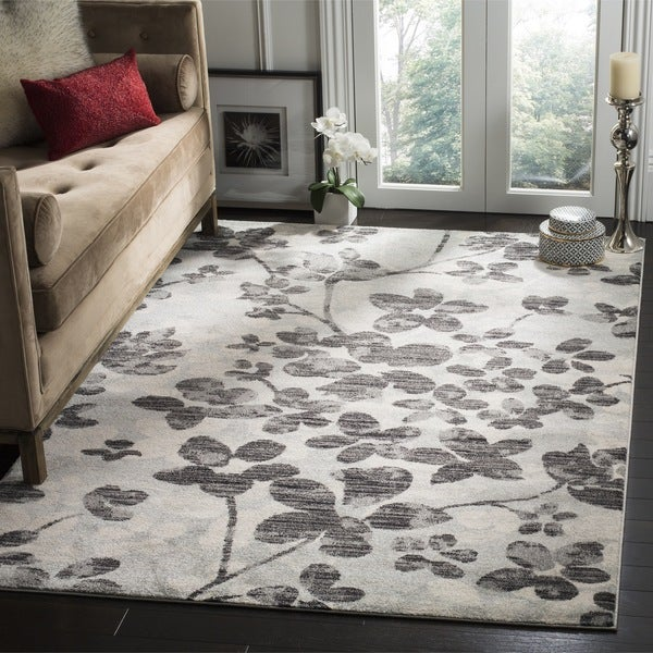 Safavieh Evoke Vintage Floral Grey / Black Distressed Rug - 8' x 10'