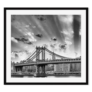 New York City with Manhattan Bridge and Skyline Print on Paper Framed Print