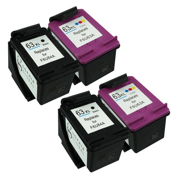 Sophia Global Ink Cartridge Replacements for HP 63XL (2 Black, 2 Color) (Remanufactured)