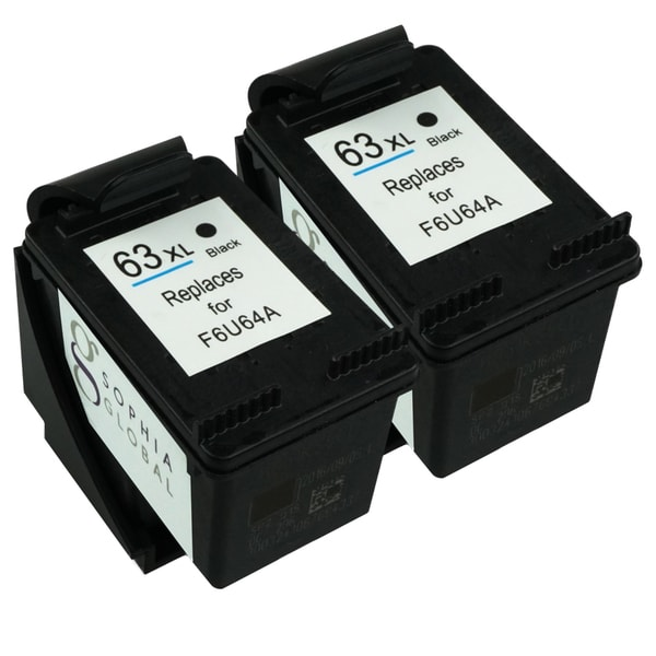Sophia Global Ink Cartridge Replacements for HP 63XL (2 Black) (Remanufactured)