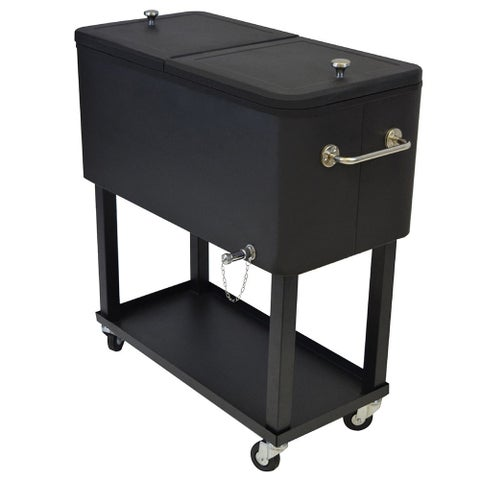 Premium Steel 20-gallon Black 1-inch Insulated Party Cooler Cart with Locking Wheels