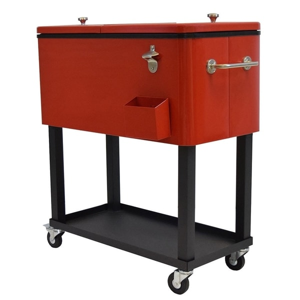 Premium Steel 20-gallon Party Cooler Cart with Locking Wheels and 1-inch Insulation (Red). Opens flyout.