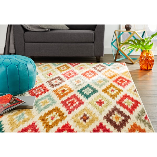 Mohawk Home Traditional Jewel Rug: Mohawk Home Strata Carnival Ikat Salsa (5' X 8')