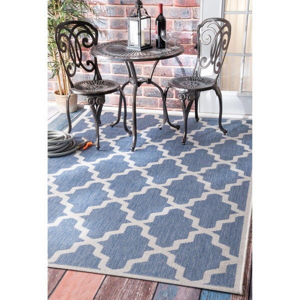 Clay Alder Home Colville Moroccan Trellis Indoor/ Outdoor Blue Area Rug - 8'6 x 13'