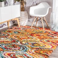nuLOOM Soft and Plush Melting Moroccan Rainbow Trellis Shag Multi Rug - 8' x 10'