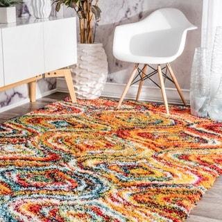 nuLOOM Soft and Plush Melting Moroccan Rainbow Trellis Shag Multi Rug (5'3 x 7'6)