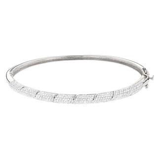 Luxurman 14k White Gold 1 1/4ct TDW Designer Pave Diamond Bangle (G-H, SI1-SI2)