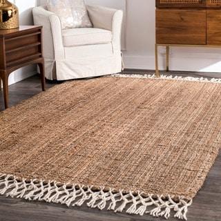 nuLOOM Handmade Chunky Jute/ Wool Tassel Natural Rug (5' x 8')