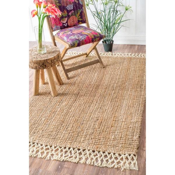 Nuloom Handmade Chunky Jute Wool Tassel Natural Rug 5 X