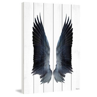 Parvez Taj - Black Wings Painting Print on White Wood