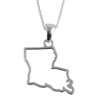 Sterling Silver Louisiana State Outline 18-inch Necklace