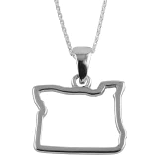 Sterling Silver Oregon State Outline 18-inch Necklace