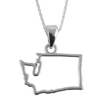 Sterling Silver Washington State Outline 18-inch Necklace