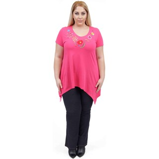 La Cera Women's Plus Size Raspberry Floral Embroidery V-Neck Top