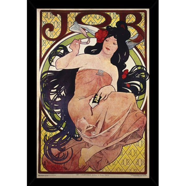 Mucha Job Print with Contemporary Poster Frame (24 x 36)