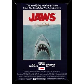 Jaws Print with Traditional Black Wood Frame (24 x 36)