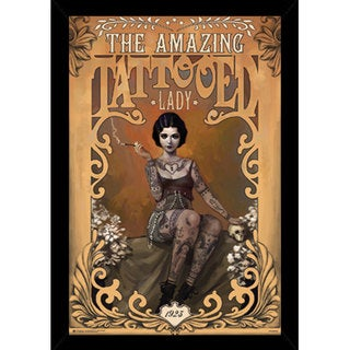 The Amazing Tattooed Lady Print with Traditional Black Wood Frame (24 x 36)