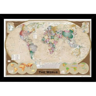 World Map Triple Print with Contemporary Poster Frame (36 x 24)