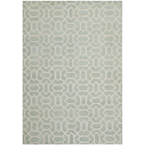 Safavieh Hand-knotted Santa Fe Geometric Light Grey/ Silver Wool Rug - 9' x 12'