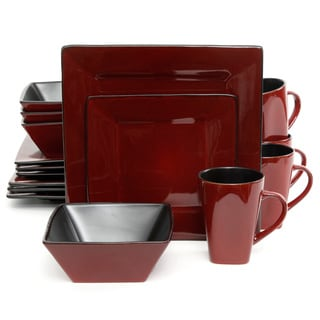 Kiesling Dinnerware Red/ Black16-piece Dinnerware Set