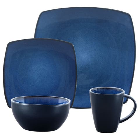 Gibson SoHo Lounge Blue Stoneware 16-piece Dinnerware Set