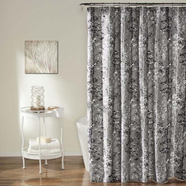 Lush Decor Grey Forest Shower Curtain