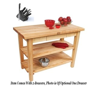 John Boos C023-2S-TLR Country Maple Tabel 60x 24 with Drawer, Casters, 2 Shelves, Towel Rack and Henckels 13-piece Knife Block S