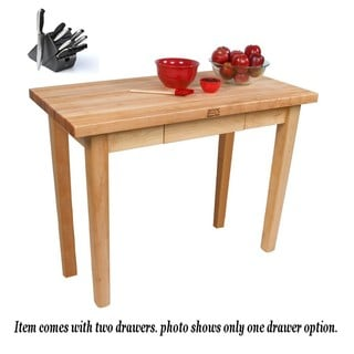 John Boos C03C-2D Country Maple Work Table 60x24 With 2 Drawers, Casters and Henckels 13-piece Knife Block Set