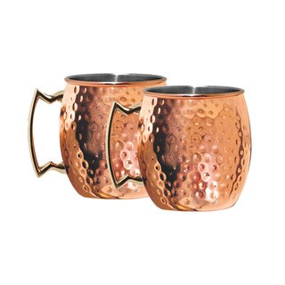 Hammered Moscow Mule Mug Gold Solid Copper and Nickel Lined 16 oz. Brass Handle (Set of 2)
