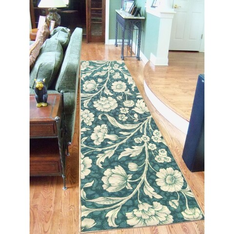"Sweet Home Stores Blue Floral Design Runner Rug - 1'8"" x 4'11"""