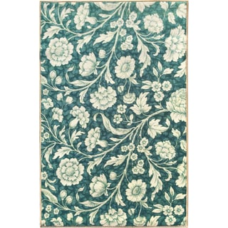 Sweet Home Blue Floral Design Mat Doormat Rug (2'3 x 6')
