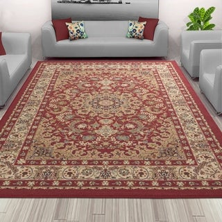 Sweet Home Red Medallion Design Mat Doormat Rug (5'0 x 6'6)