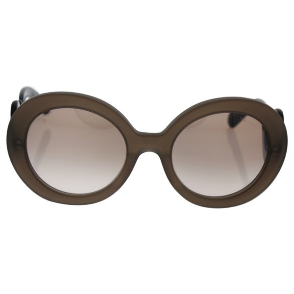 18c5d2ff549fb Prada Women  x27 s PR 27NS UBU4O0 Matte Brown Transparent Round Minimal- Baroque