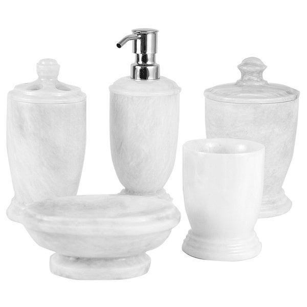 Nature Home Decor Atlantic White Marble 5-piece Bathroom Accessory Set