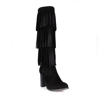 Fahrenheit Benson-07 3-Layer Fringed Women's High Heel Boots