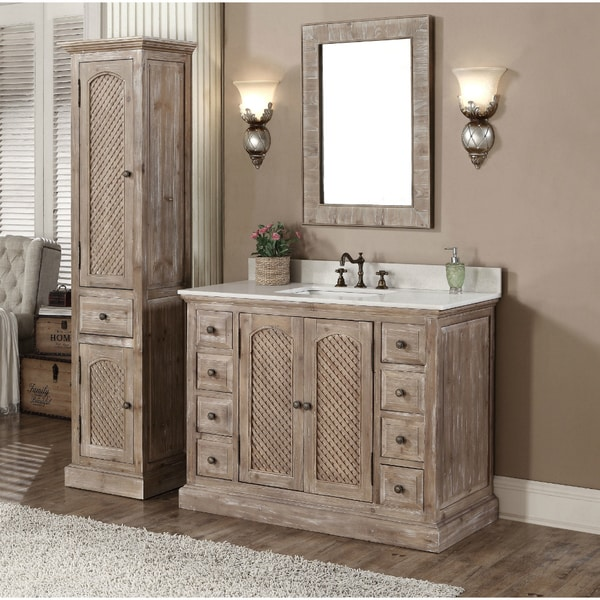 Rustic Style Quartz White Marble Top 48 Inch Bathroom Vanity With Matching Wall Mirror And