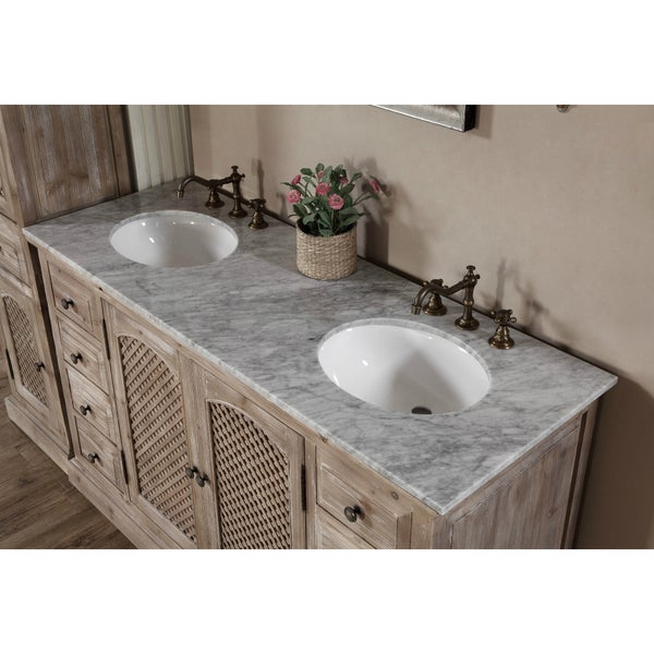rustic style carrara white marble top 60inch double sink bathroom vanity with matching dual wall mirrors and linen tower free shipping today