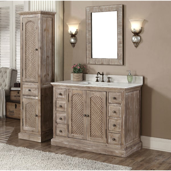 marble top 48 inch bathroom vanity with matching wall mirror and linen