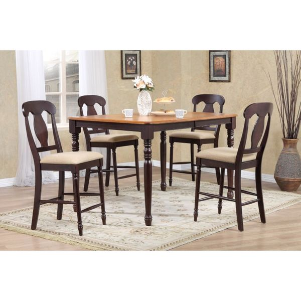 Iconic Furniture Company 5-piece Whiskey Mocha 36 x 52 x 67-inch Rectangle Napoleon Upholstered Counter Set